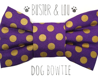 Dog Bow Tie - purple with gold spot
