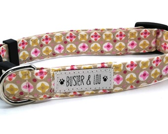 Adjustable dog collar | pink geometric daisy dog collar |  Pink Daisy | girl dog collar