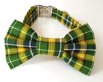 Green and Yellow Plaid Check Dog Collar and Bowtie Set