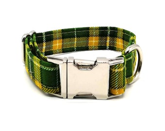Green Plaid Check Dog Collar