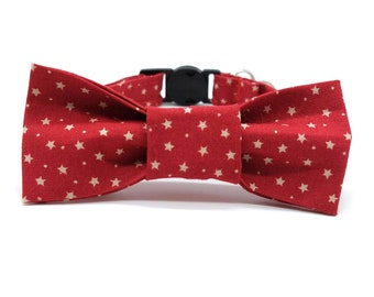 Christmas Cat Collar with optional bowtie -  red and gold star