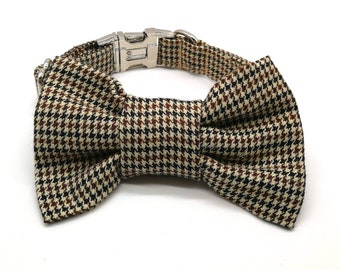 Dog Collar -  Dogtooth Check Dog Collar and Bowtie Set