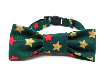 Christmas Green and Gold Star Cat Collar with optional bowtie