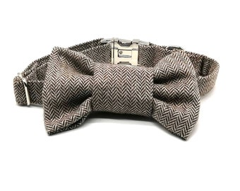 Herringbone Dog Collar and Bowtie Set