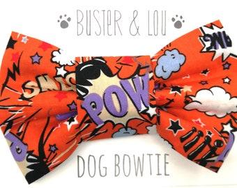 Dog Bow Tie - Super Hero Pow Orange