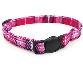 Pink plaid tartan with quick release safety clasp