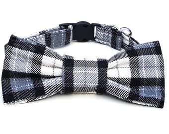 Cool Cat Bowtie and breakaway collar in black plaid check tartan