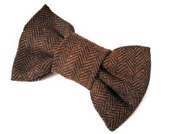 Brown Herringbone Dog Bowtie