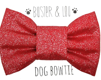 Dog Bow Tie - Red Sparkle Glitter