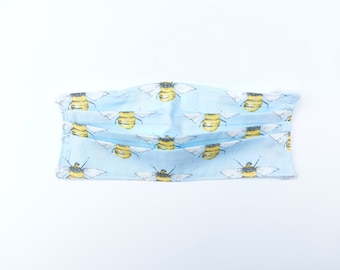 Face Mask Spring Blue Bumble Bee Print
