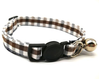 Cat Collar - brown and blue gingham breakaway safety collar