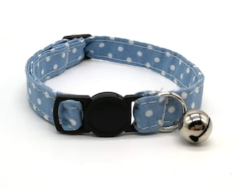 Cat Collar - denim blue spot fabric breakaways safety collar