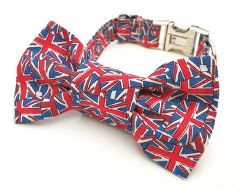 Royal Wedding Red, White and Blue Union Jack Dog collar Dog Bowtie or Dog Bowtie Collar Set