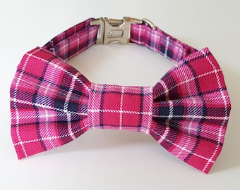 Pink Plaid Check Dog Collar and Bowtie Set