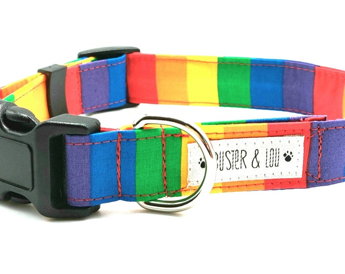 Featured listing image: Rainbow Stripe Dog Collar