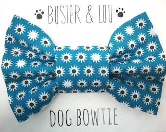 Slide on Dog Bow Tie | Jade blue daisy