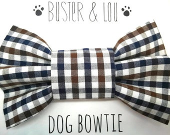 Dog Bow Tie - navy blue, white and brown gingham