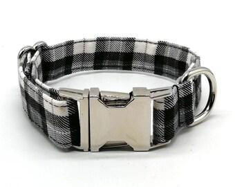 Dog Collar - Black and White Plaid Check Dog Collar