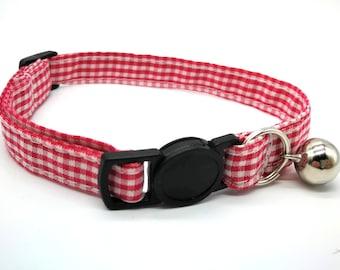 Cat Collar -  red gingham breakaway collar