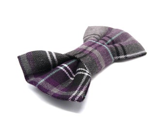 Dog Bow Tie -  Purple and Grey Plaid Check