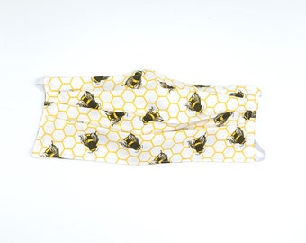 Face Mask White Bumble Bee Print