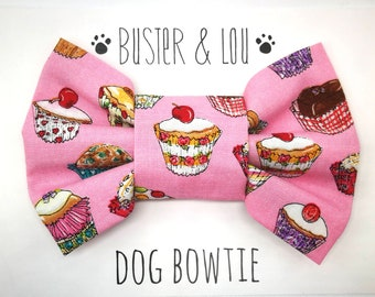 Dog Bow Tie - pink cupcake