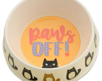 Paws Off Bamboo Cat Bowl