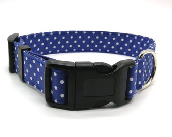 Adjustable Dog Collar Navy Blue Spot