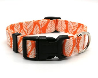 Dog Collar  -  Orange Leaf