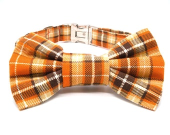 Orange Plaid Check Dog Collar and Bowtie Set