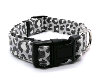 Dog Collar - Grey leopard print