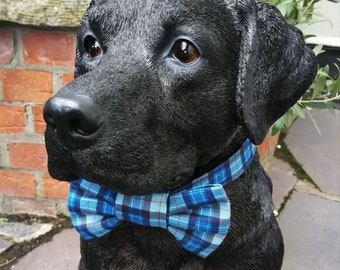 Blue Plaid Check Dog Collar and Bowtie Set
