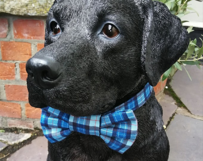 Featured listing image: Blue Plaid Check Dog Collar and Bowtie Set