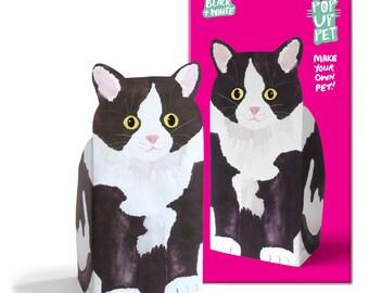 Pop Up Pet Cat - Black and White Tux