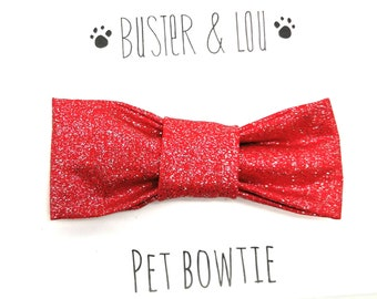 Cat / Small Dog Bow Tie - Red  and Gold Spot