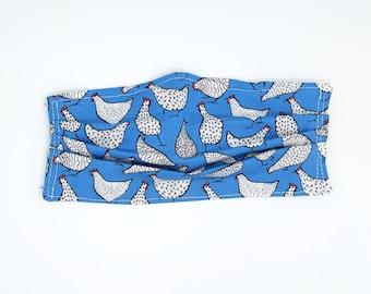 Face Mask Blue Chicken Print