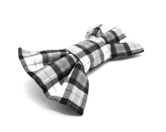 Dog Bow Tie - Black and White Plaid Check