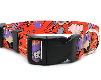 Orange Superhero Dog Collar