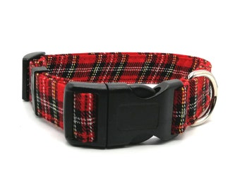 Dog Collar - Red Tartan