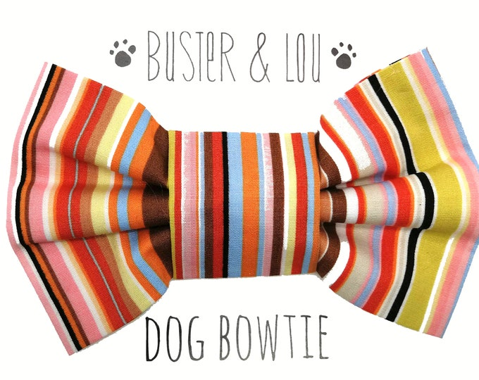 Featured listing image: Dog Bow Tie - red stripe