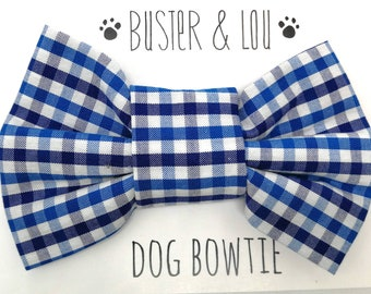Dog Bow Tie - blue and white gingham