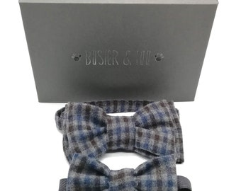 Gift Set - Matching Butterfly style bowtie or bowtie brooch and cat bowtie or dog bowtie in blue grey check