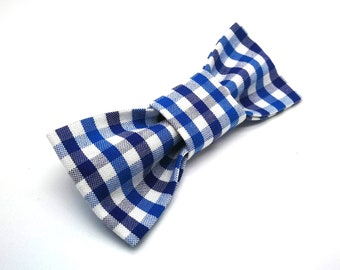 Cat Slide On Bow tie | Small Dog Slide On Bow Tie | blue and white gingham bowtie | Blue gingham