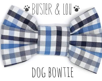 Dog Bow Tie - blue, navy and white gingham