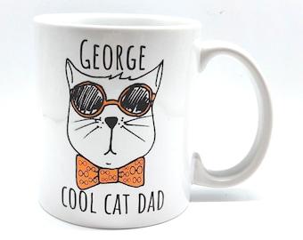 Personalised Cool Cat Dad Mug | Personalised Mug and Coaster Set | Personalised Coaster