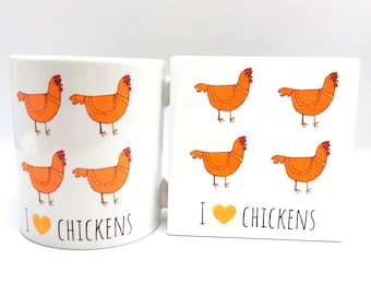 I Love Chickens matching chicken mug and coaster set
