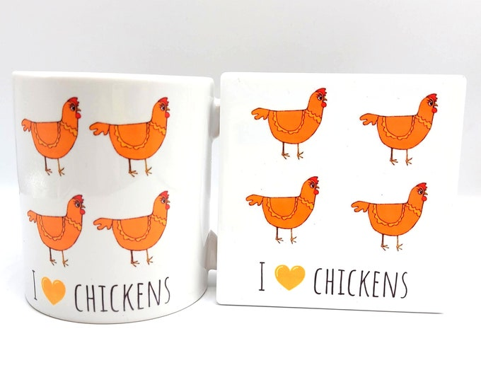 Featured listing image: I Love Chickens matching chicken mug and coaster set