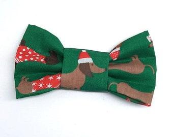 Christmas Dog Green slide on bowtie