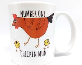 Number One Chicken Mum matching chicken mug and coaster set