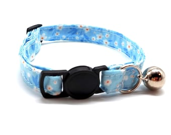 Cat Collar -  Spring blue floral breakaway safety collar